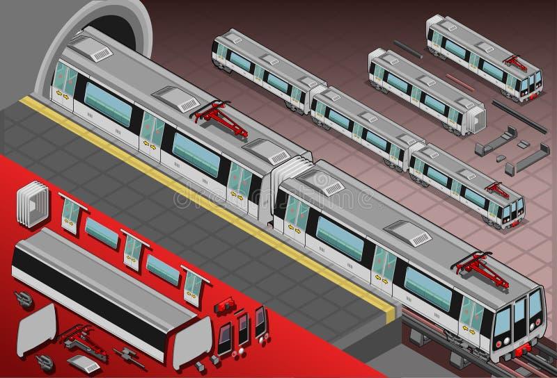 Vagões isométricos do metro na estação ilustração stock
