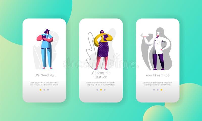 A vaga de trabalho diferente escolhe da página móvel do App do caráter da oportunidade o grupo a bordo da tela Cozinheiro chefe e ilustração stock