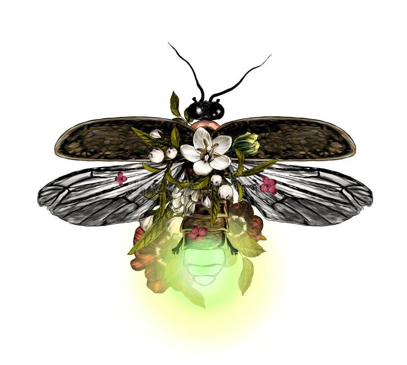 Vaga-lume com opinião superior das asas abertas decorado simetricamente com flores e folhas ilustração royalty free