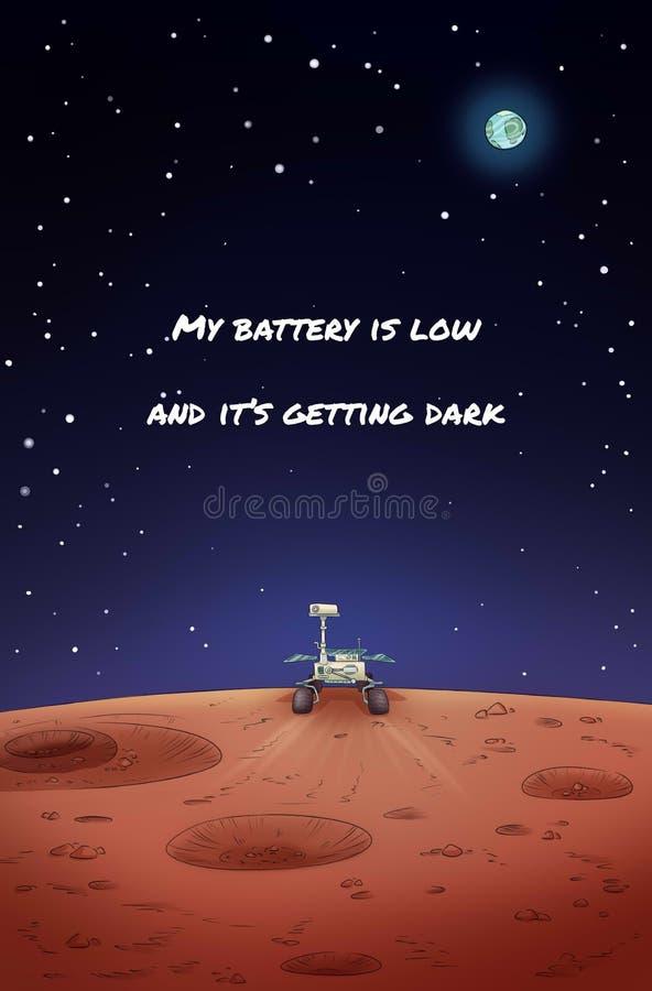Vagabond d'exploration d'occasion sur l'affiche de Mars Ma batterie est basse et elle devient fonc?e illustration stock