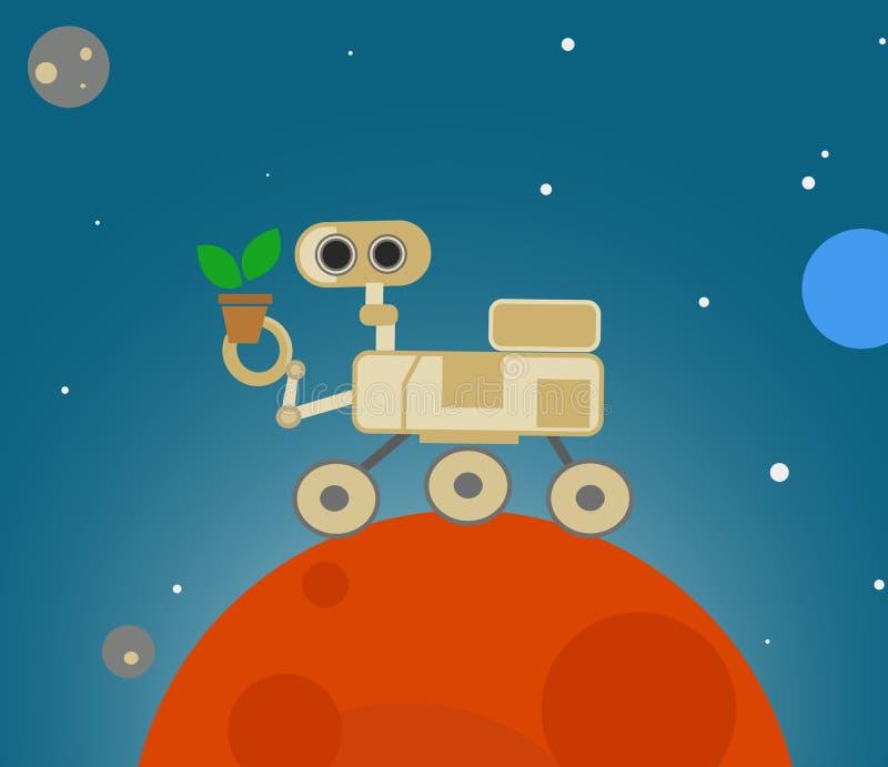 Vagabond mignon de bande dessinée explorant Mars illustration de vecteur