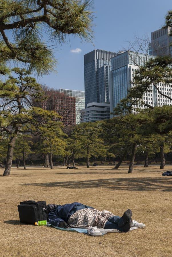 Vagabonds en parc dans le secteur de Nijubashimae de Tokyo, photographie stock