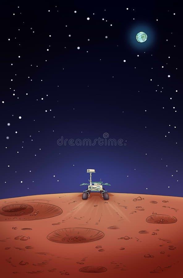 Vagabundo da exploração da oportunidade em Marte Cartaz c?mico do estilo ilustração royalty free