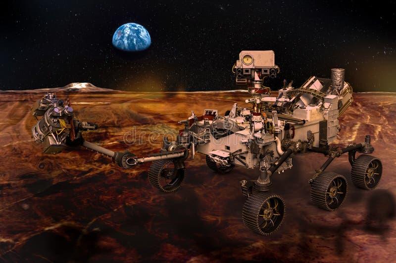 Vagabundo marciano en la superficie del planeta rojo stock de ilustración