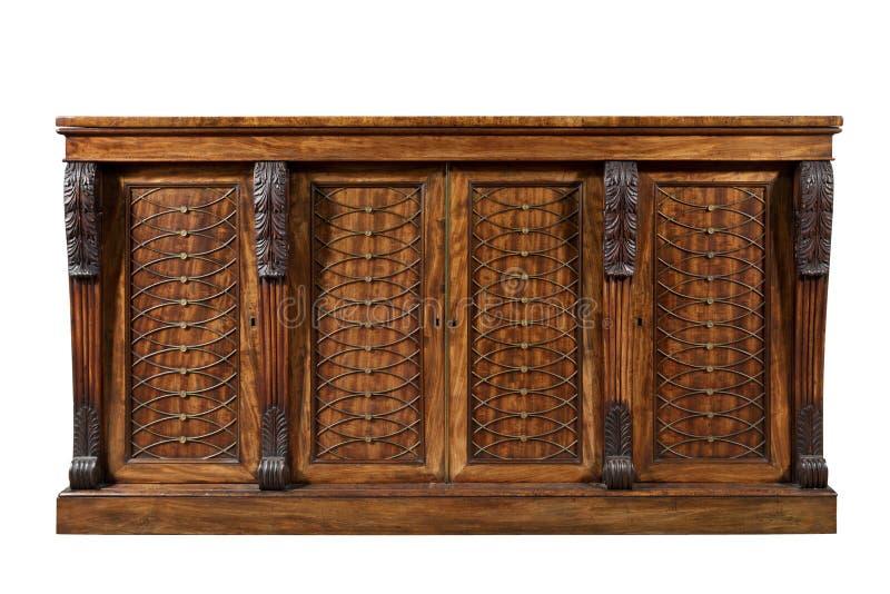 Vagabundos de mogno ingleses antigos velhos do armário do armário do lado do chiffonier fotos de stock