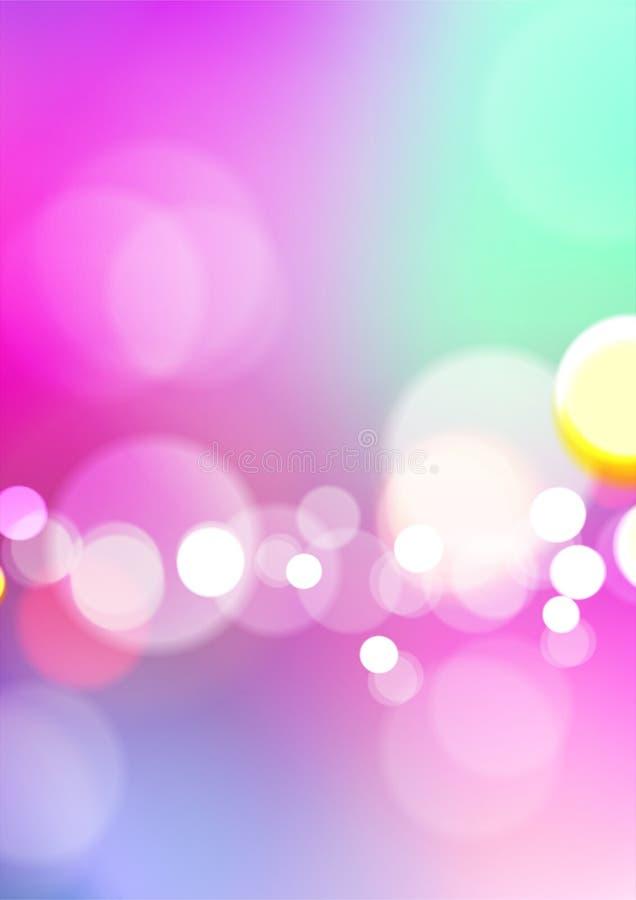 Vage abstracte kleurrijke achtergrond met bokehlicht stock illustratie