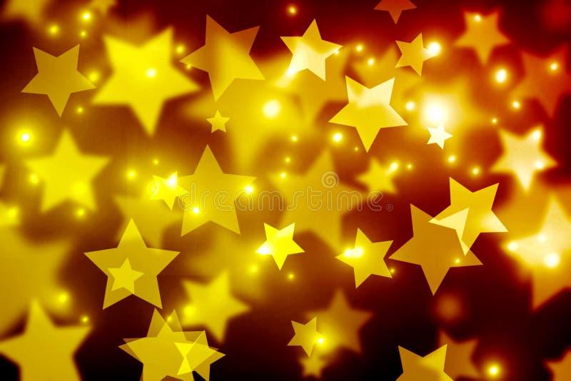 Vage bokeh achtergrond, Gouden bruine vallende sterren, geel, stock illustratie