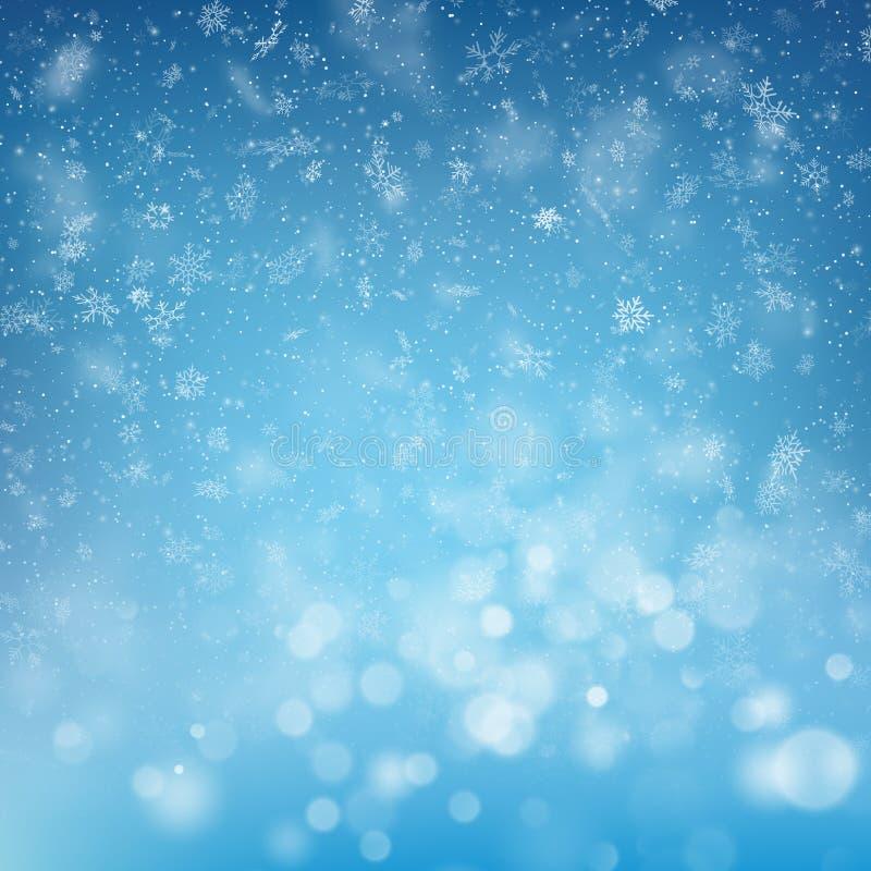 Vage bokeh lichte sneeuwvlokken op blauwe achtergrond Kerstmis en Nieuwjaarvakantiemalplaatje De samenvatting schittert Defocused vector illustratie