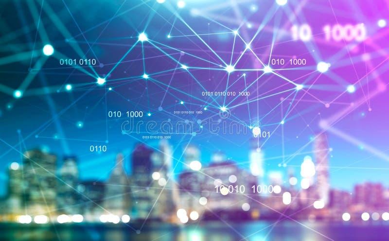Vage cityscape met digitaal technologienetwerk royalty-vrije stock afbeeldingen