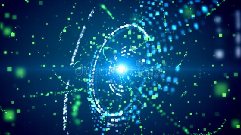 Vage deeltjesgolven in roterend gebied royalty-vrije illustratie