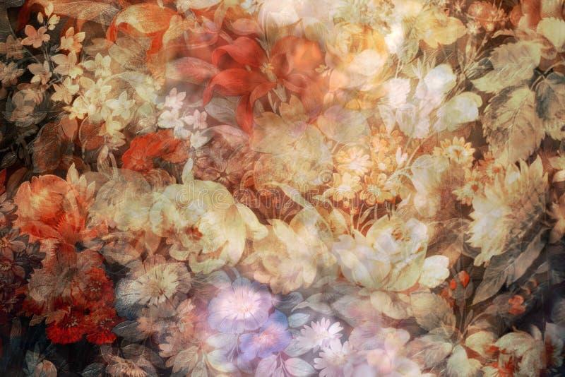 Vage en dubbele blootgestelde bloemen royalty-vrije stock foto