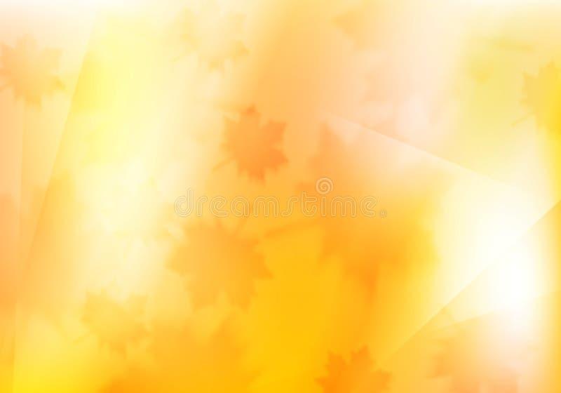 Vage oranje de herfstachtergrond met esdoornbladeren royalty-vrije illustratie