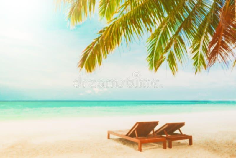 Vage strandachtergrond met ligstoelen onder kokospalm royalty-vrije stock foto