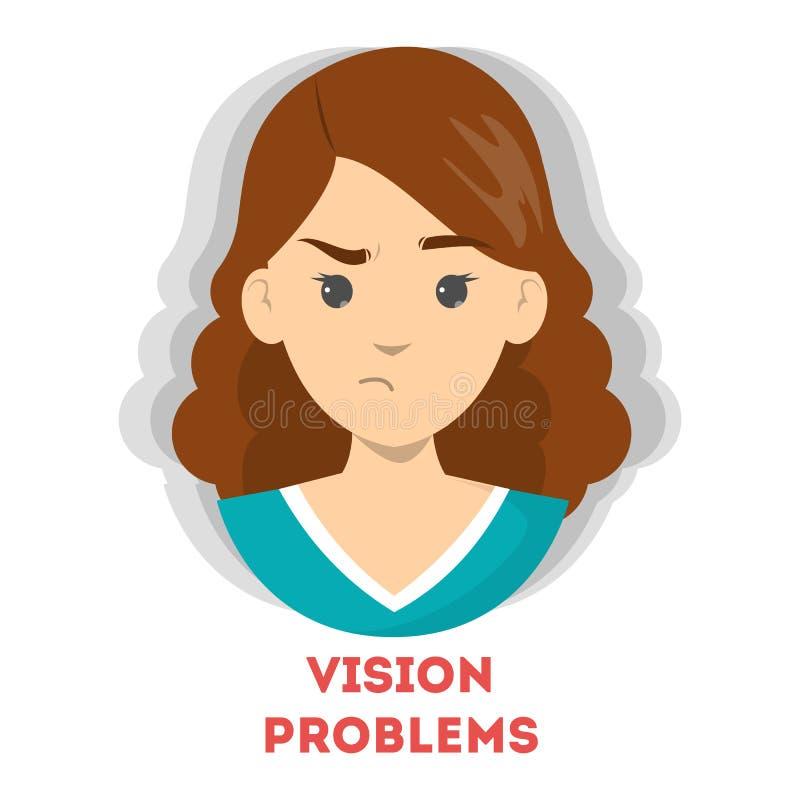 Vage visie als symptoom van ziekte Oogprobleem royalty-vrije illustratie