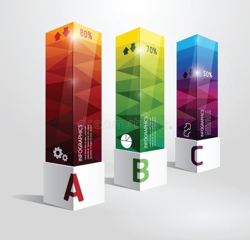 Vagel för modern design för ask för Infographic mall minsta stock illustrationer