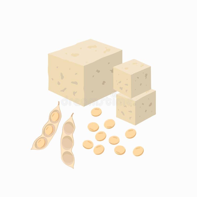 Vagem de feijão do Tofu e da soja com as sementes da soja isoladas no fundo branco Ilustra??o do vetor no projeto liso ilustração do vetor