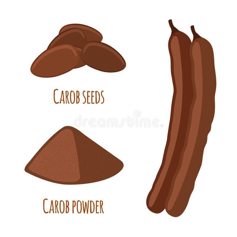 Vagens da alfarroba, feijões, pó Superfood Alimento descafeinado do vegetariano Estilo liso ilustração royalty free