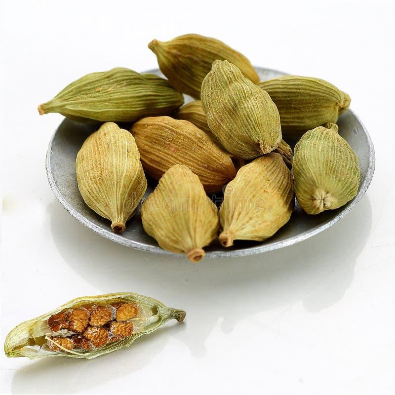 Vagens do cardamomo e sementes secadas, trajetos imagem de stock royalty free