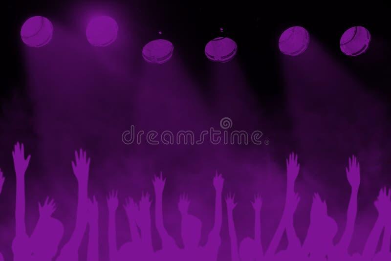 Vagga bakgrund för konserten för musikfestivalen, lilan som är violett royaltyfri foto