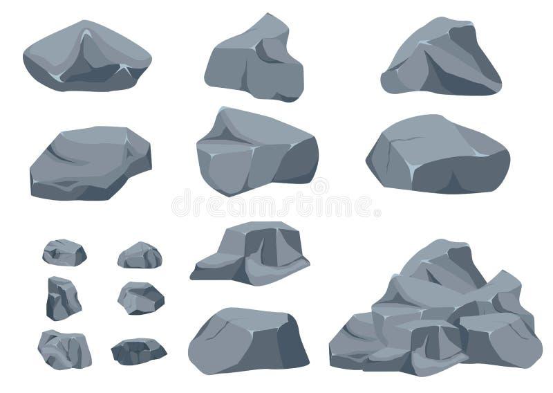 Vagga den fastst?llda tecknade filmen f?r stenen stock illustrationer