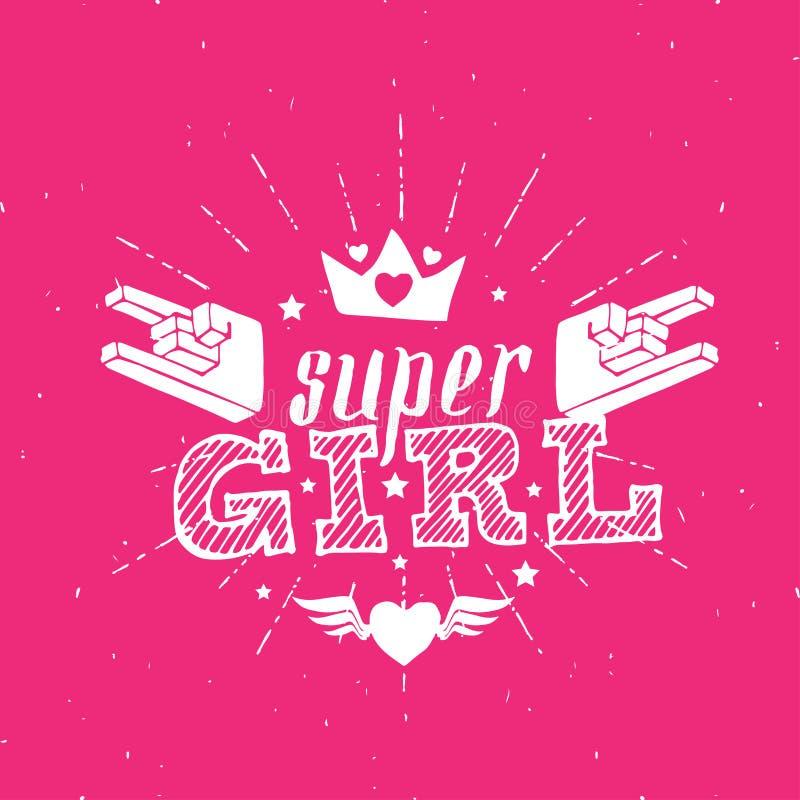 Vagga den toppna flickan för stjärnan - det vektoraffischen eller trycket för flickakläder vektor illustrationer