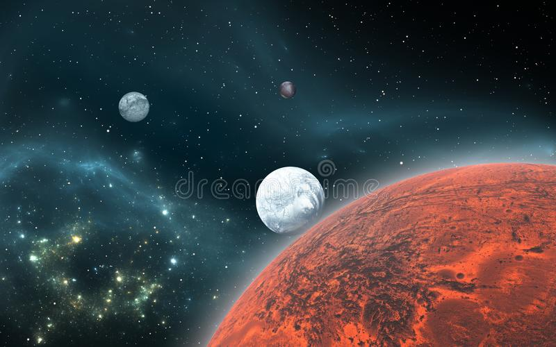 Vagga Exoplanets eller Extrasolar planeter med den planetariska nebulosan royaltyfri illustrationer