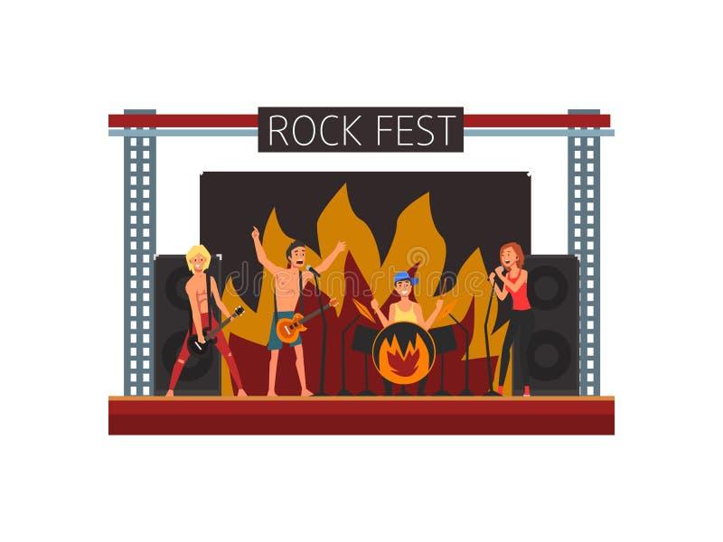 Vagga festen, konserten för öppen luft, Rock Band som utför på etappen, utomhus- illustration för vektor för musikfestival royaltyfri illustrationer