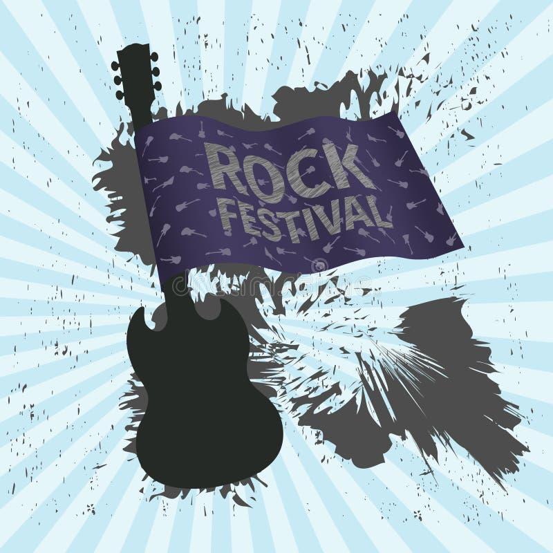Vagga festivalbanret med gitarren och flaggan, grungestil vektor illustrationer
