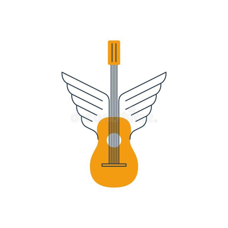 Vagga gitarren, akustisk musik, tunna linjer symbol och logoen stock illustrationer