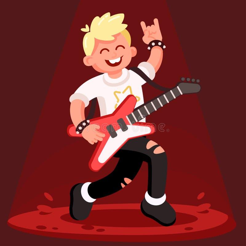 Vagga gitarristen - fan av metall, ställningar på etapp royaltyfri illustrationer