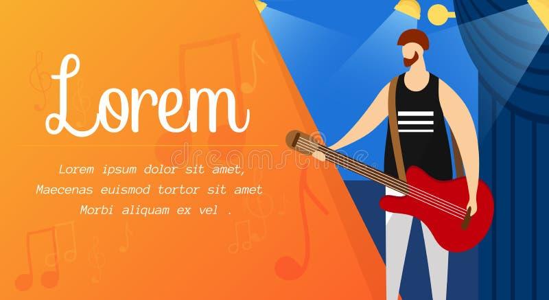 Vagga gitarristen med den röda elektriska gitarren på etapp stock illustrationer