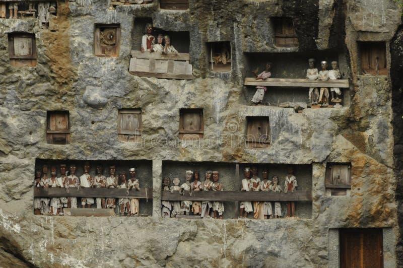 Vagga gravvalv i Lomo i den Tana Toraja regionen i Sulawesi arkivfoto