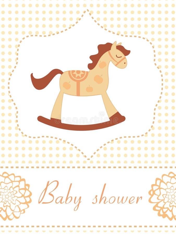 Vagga hästbaby showerkortet royaltyfri illustrationer