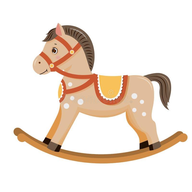 Vagga hästen behandla som ett barn leksakbrunt royaltyfri illustrationer