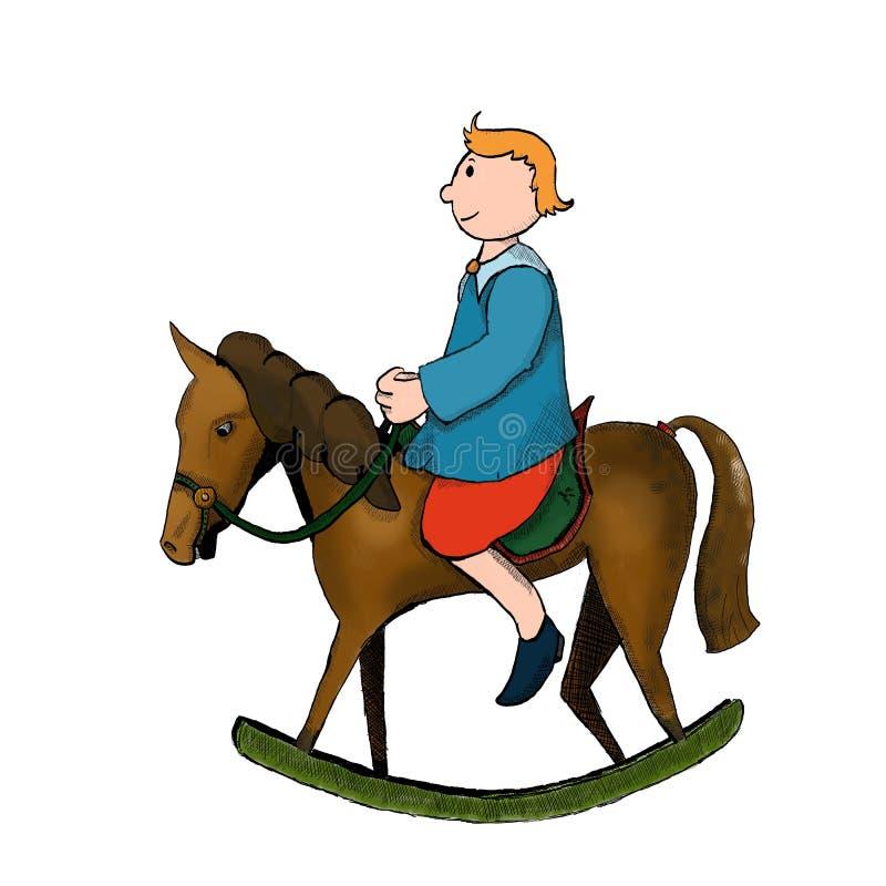 Download Vagga hästen med pojken stock illustrationer. Illustration av ponny - 78727118