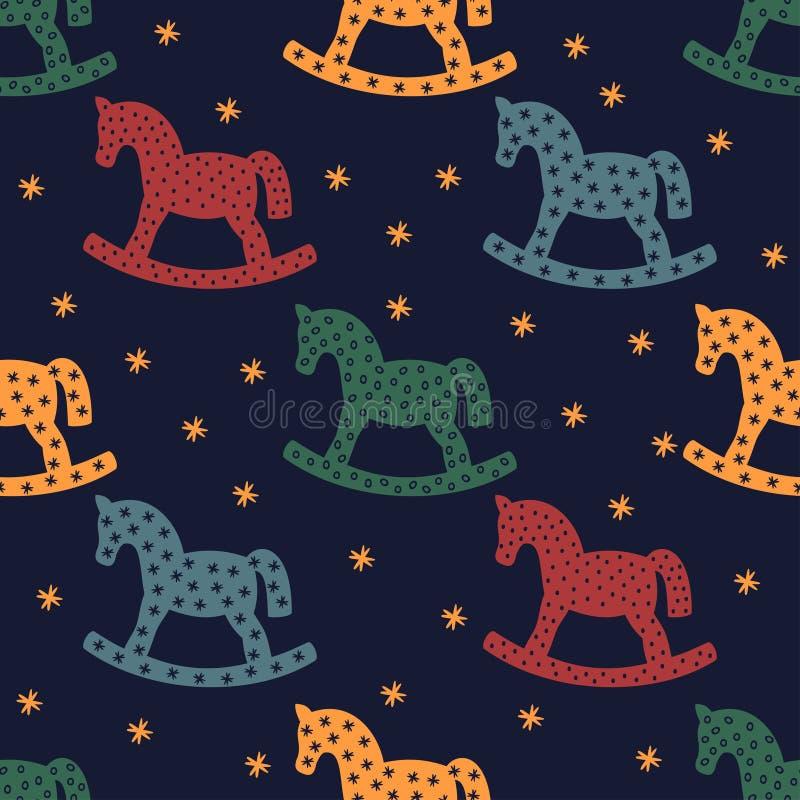 Vagga hästkonturn Sömlös modell med att vagga hästar på mörker - blå bakgrund royaltyfri illustrationer