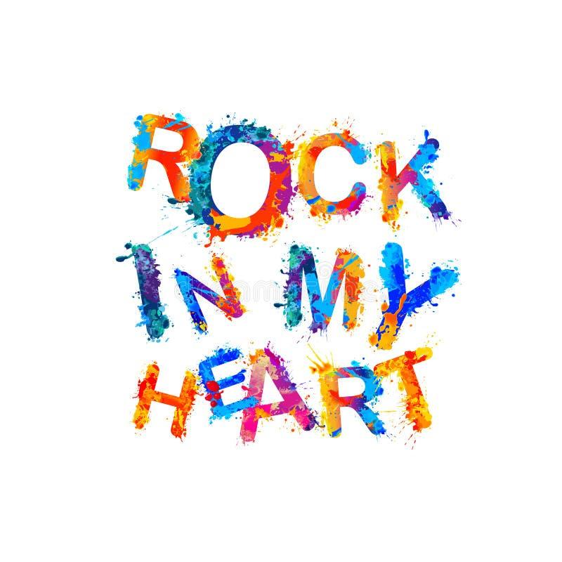 Vagga i min hjärta Färgstänkmålarfärg stock illustrationer