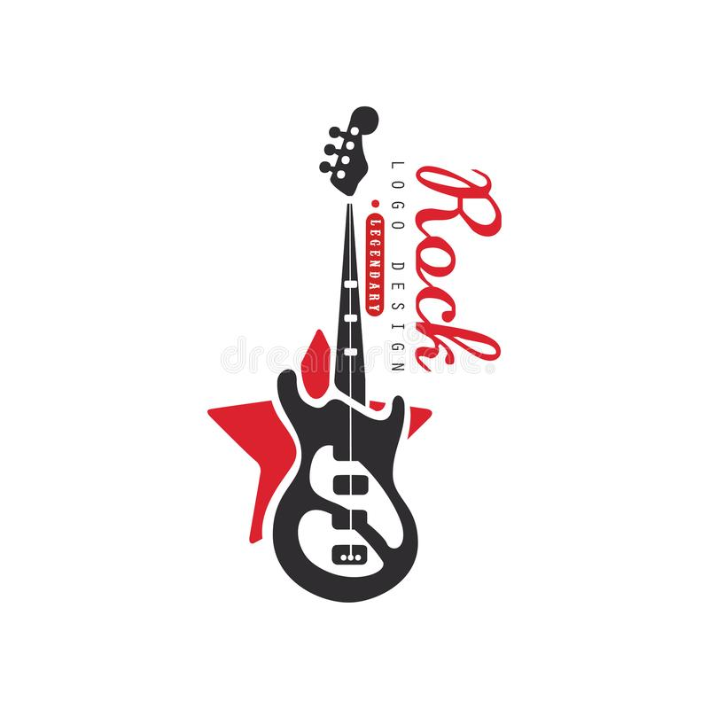 Vagga logodesignen, emblemet för rockband eller festivalen med vektorillustrationen för den elektriska gitarren på en vit bakgrun vektor illustrationer