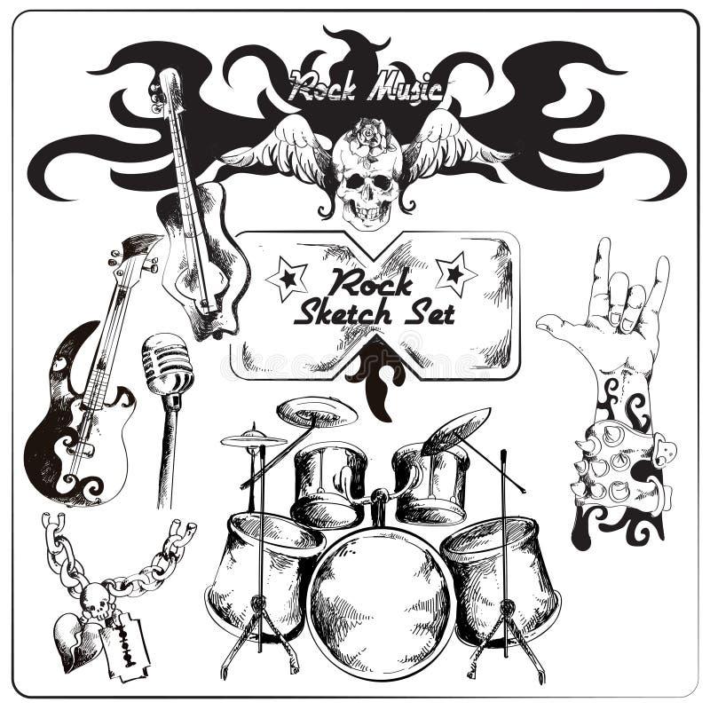Vagga musik skissar uppsättningen vektor illustrationer