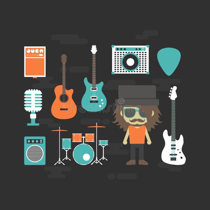 Vagga musikern och musikinstrumentet stock illustrationer