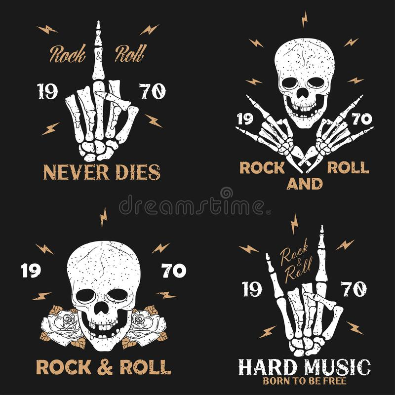 Vagga musikgrungetrycket för dräkt med den skelett- handen, skalle och steg Uppsättning för tappningvagga-n-rulle t-skjorta diagr stock illustrationer