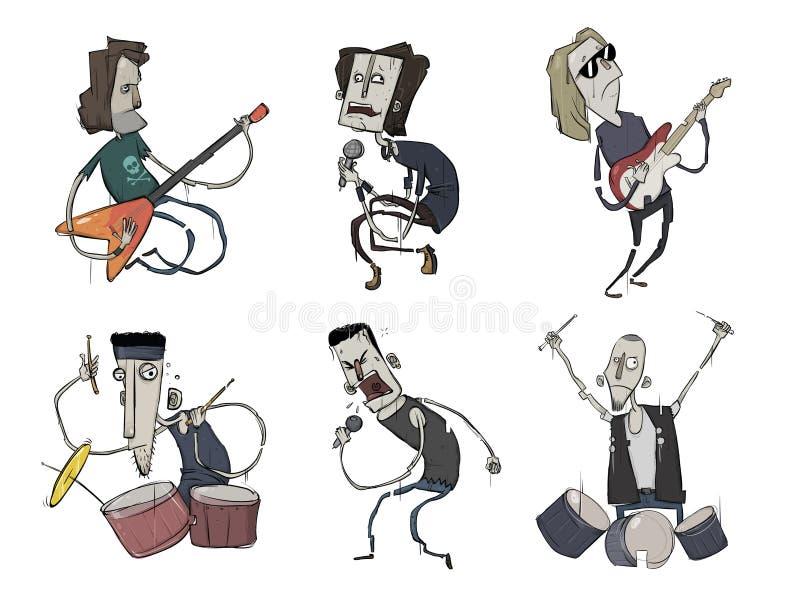 Vagga musikmusikbanduppsättningen Musikgrupp Gitarrist-, sångare- och handelsresandelekheavy metal Vektortecken, illustration stock illustrationer
