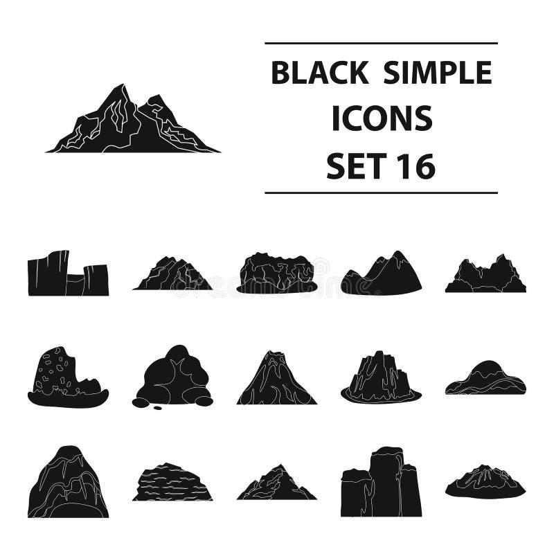 Vagga, nå en höjdpunkt, vulkan och andra sorter av berg Fastställda samlingssymboler för olika berg i svart stilvektorsymbol royaltyfri illustrationer