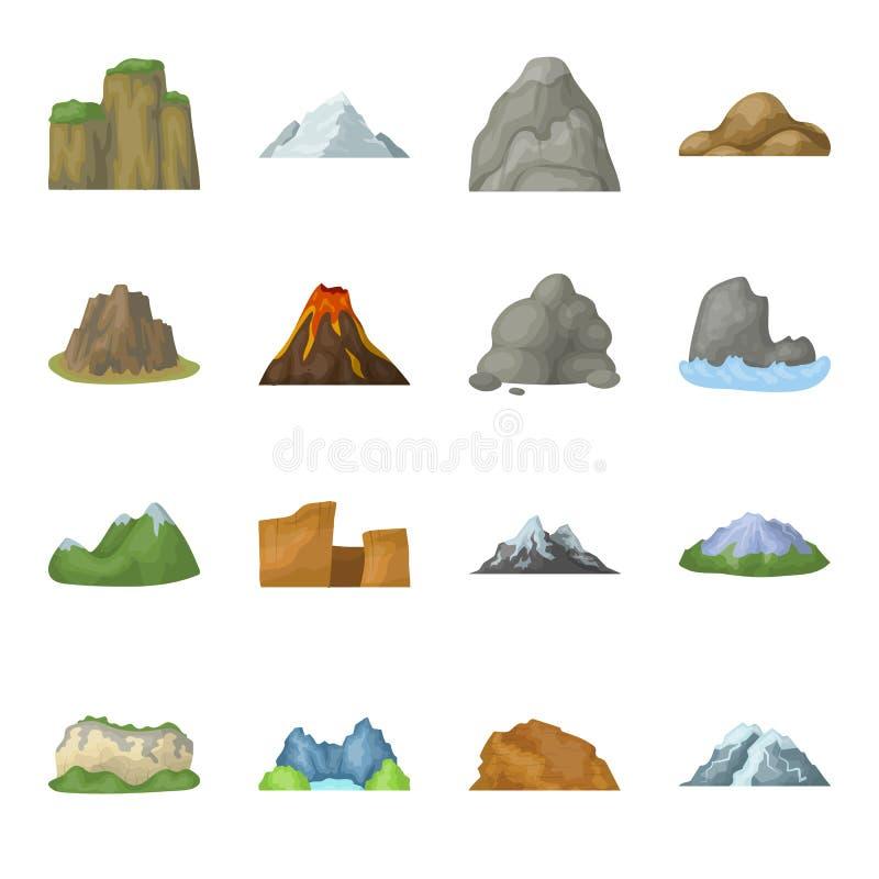 Vagga, nå en höjdpunkt, vulkan och andra sorter av berg Utformar fastställda samlingssymboler för olika berg i tecknad film vekto stock illustrationer