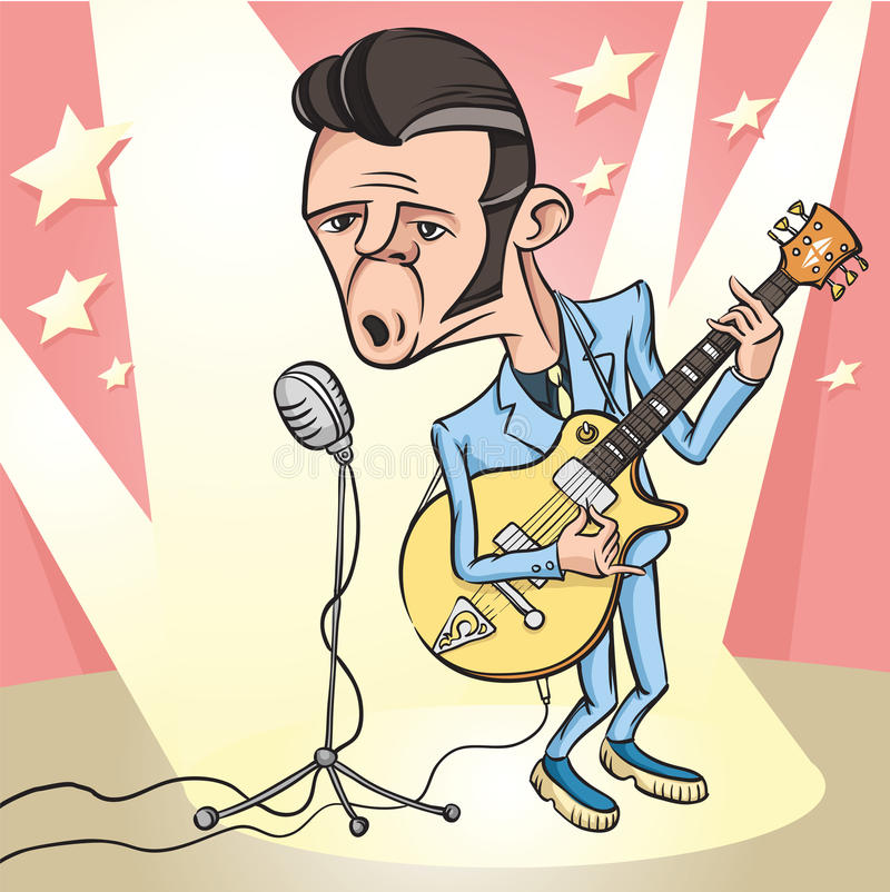 Vagga - och - rullar gitarristen som sjunger på etappen royaltyfri illustrationer
