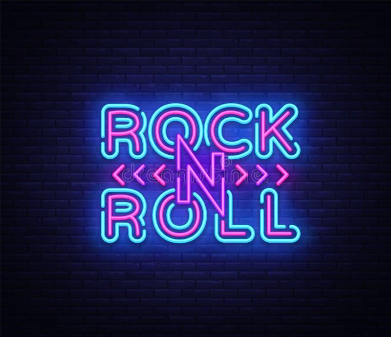 Vagga - och - rullar logo i neonstil Vagga skylten för musikneonnatten, illustrationen för designmallvektorn för Rock festivalen royaltyfri illustrationer