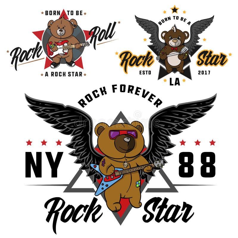 Vagga - och - rullar nallebjörnen för barn dragen hjälte, trycket för t-skjortor, klistermärkear och etiketter, tatuering royaltyfri illustrationer