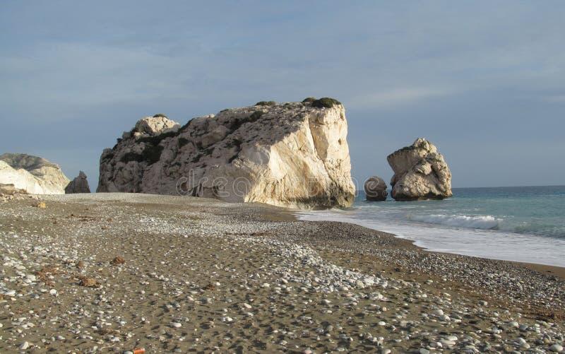 Vagga-Petra Tou Romiou-Cyprus för Aphrodite` s royaltyfri foto