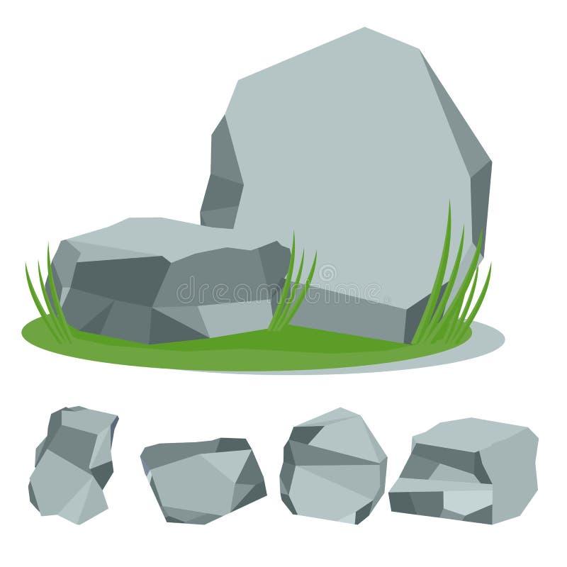 Vagga stenen med gräs stock illustrationer