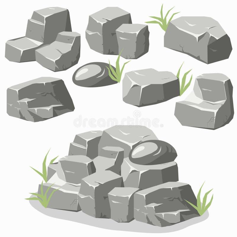 Vagga stenuppsättningen stock illustrationer